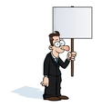 Happy business man with protest sign vector image vector image