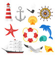 cartoon style set of sea objects vector image
