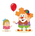 Circus clown with balloon and girl vector image