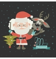 Funny Santa Claus with reindeer vector image