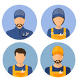 set of avatars of the builders builders circle vector image