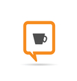 square orange speech bubble with cup of coffee vector image