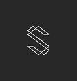 Thin line S letter logo elegant monogram for vector image