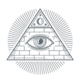 Mystical occult sign with freemasonry eye symbol vector image