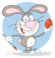 Gray Rabbit Painting Easter Egg vector image vector image