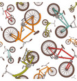colorful cartoon bicycles seamless pattern vector image