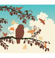 Songbirds mobbing owl vector image