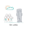 Art critic looks at the sculpture vector image