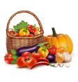 A basket full of fresh vegetables background vector image vector image