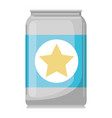beer can in colorful silhouette with star emblem vector image