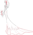 Bride with bouquet vector image