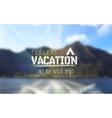 Camping logo emblem on mountain blurred landscape vector image