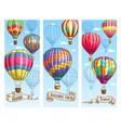 hot air balloon sketch banner for travel design vector image