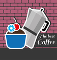 Silver metal jar of coffee with a blue cake vector image
