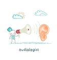 otolaryngologist yells into a megaphone on patient vector image vector image