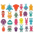 24 cute doodle monsters vector image