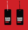 black friday sale tag set on red background vector image