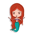 mermaid redhead in watercolor silhouette vector image