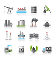 Petrol and oil industry icons vector image