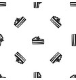 piece of cake pattern seamless black vector image