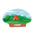 time for camping poster with tent outdoors vector image