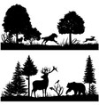 Wild animals silhouettes in green fir forest vector image