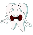 Cute tooth cartoon crying vector image