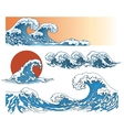 Waves in japanese style vector image