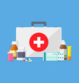 doctors or medical bag with tablets pills drugs vector image
