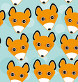 Fox Seamless pattern with funny cute animal face vector image