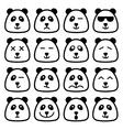 panda emotional emoji square flat faces icon vector image