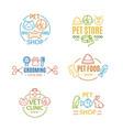 pet shop badges or labels color line art set vector image