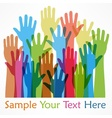Raised hands color vector image