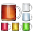Glass cups with multicolored drinks vector image vector image