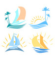 set of logos on the sea vector image vector image