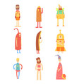 set of people in funny costumes colorful vector image
