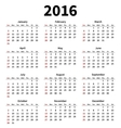 Simple 2016 year calendar on white background vector image