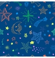 Seamless pattern with night sky and colorful hand vector image