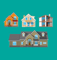 suburban family house countrysdie building set vector image