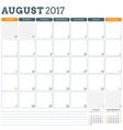 Calendar Planner Template for August 2017 Week vector image