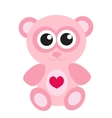 Cute pink teddy bear icon flat design Isolated vector image