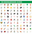100 masquerade icons set cartoon style vector image