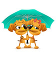 yellow dog loving couple holding an umbrella vector image