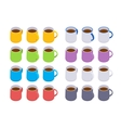 Isometric colored coffee mugs vector image