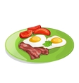 Bacon tomato and fried eggs on the plate vector image