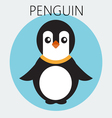 Abstract with a baby penguin in a round blue frame vector image