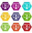 computer monitor with shopping cart icon set color vector image