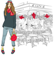 lovely fashion girl on the background of Paris vector image