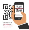 Mobile phone reads the QR code vector image