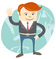 Office man waving in front of his working place vector image